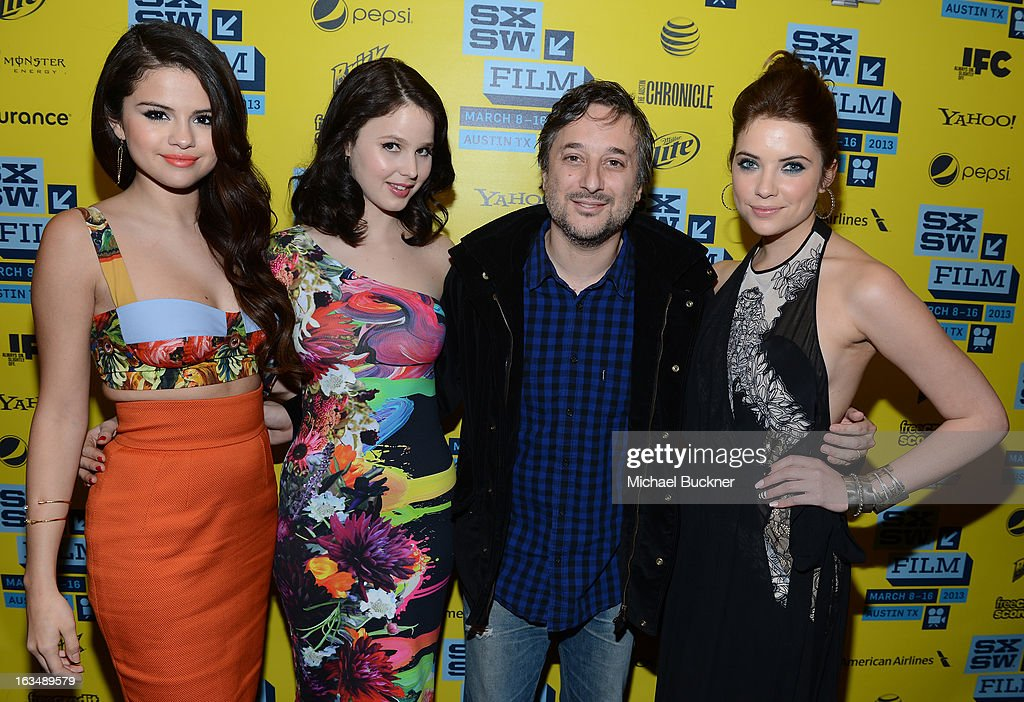 Actress Selena Gomez, actress Rachel Korine, director Harmony Korine and actress Ashley Benson attend the green room for 'Spring Breakers' during the 2013 SXSW Music, Film + Interactive Festival' at the Paramount Theatre on March 10, 2013 in Austin, Texas.