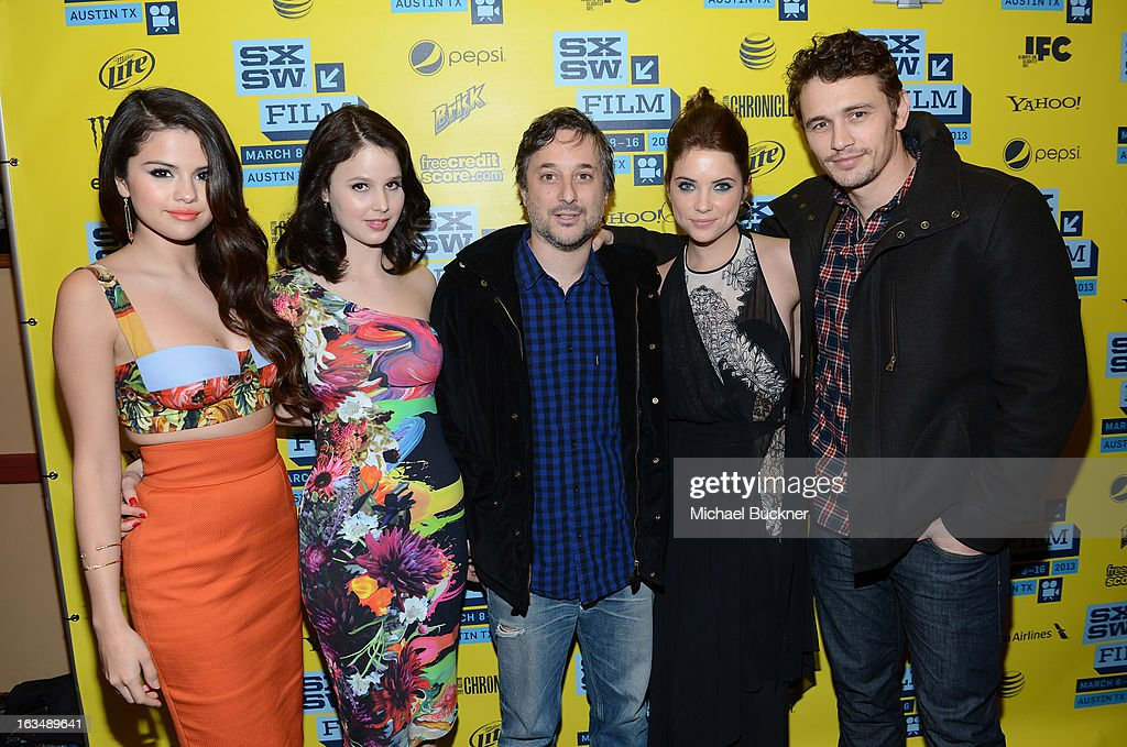 Actress Selena Gomez, actress Rachel Korine, director Harmony Korine, actress Ashley Benson and actor James Franco attend the green room for 'Spring Breakers' during the 2013 SXSW Music, Film + Interactive Festival' at the Paramount Theatre on March 10, 2013 in Austin, Texas.