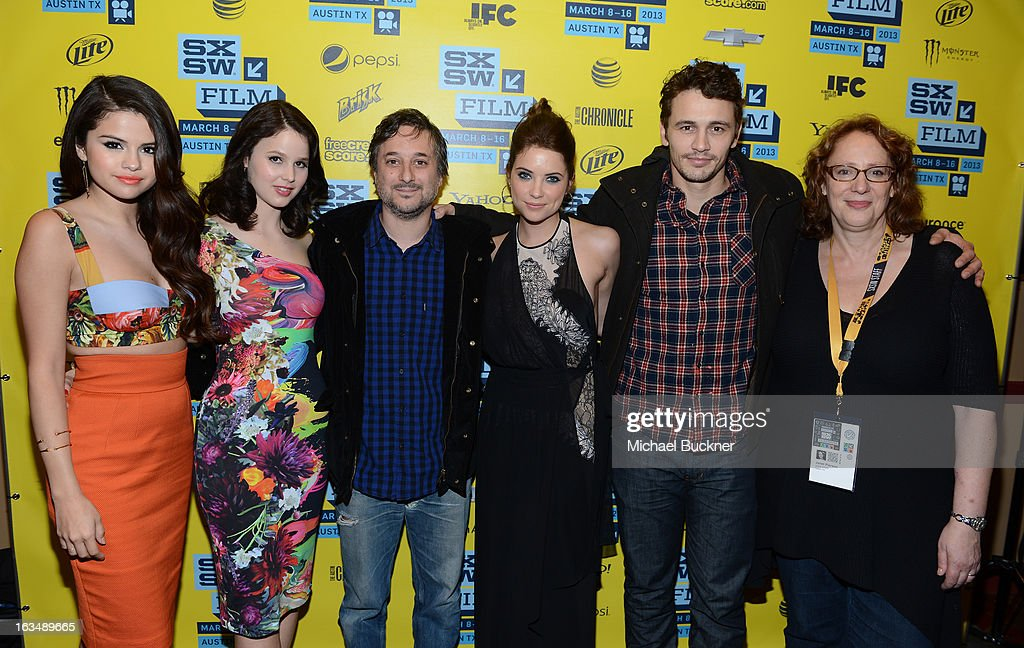 Actress Selena Gomez, actress Rachel Korine, director Harmony Korine, actress Ashley Benson and actor James Franco, Janet Pierson, producer SXSW Film Festival attend the green room for 'Spring Breakers' during the 2013 SXSW Music, Film + Interactive Festival' at the Paramount Theatre on March 10, 2013 in Austin, Texas.