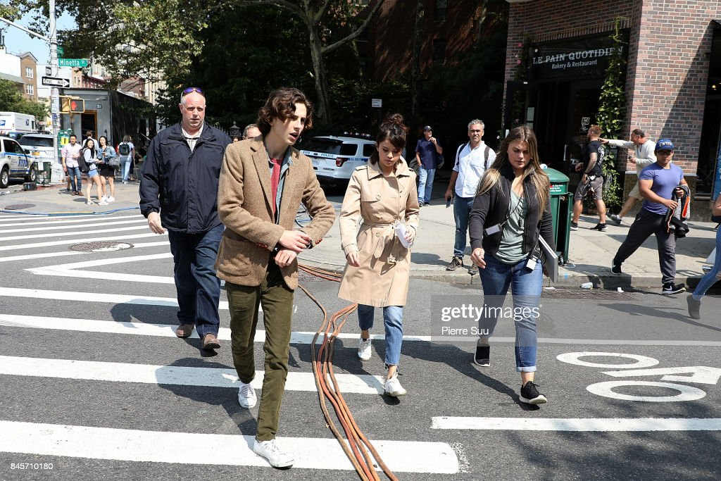 Actress Selena Gomez and Actor Timothee Chalamet are seen on the set of the new Woody Allen movie on September 11, 2017 in New York City.