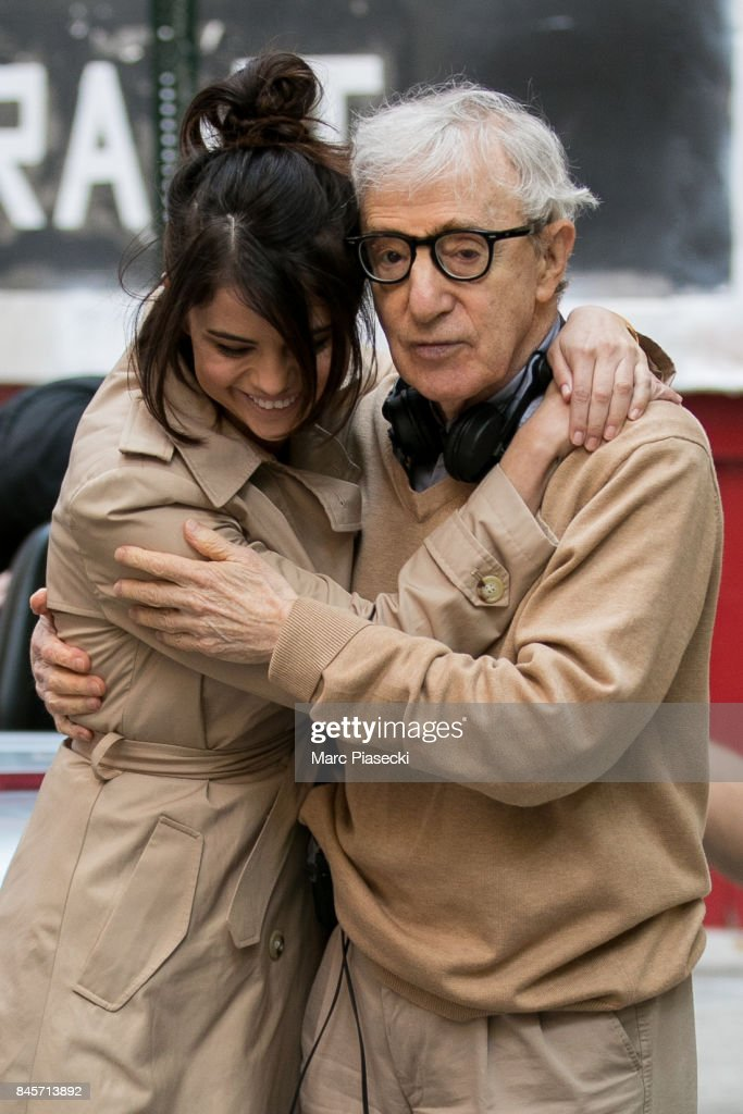 Actress Selena Gomez and director Woody Allen are seen on the set of the new Woody Allen movie on September 11, 2017 in New York City.