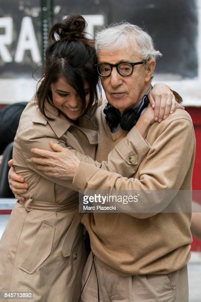 Actress Selena Gomez and director Woody Allen are seen on the set of the new Woody Allen movie on September 11 2017 in New York City