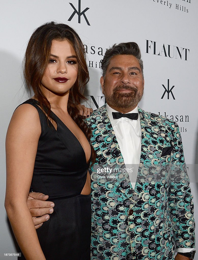Actress <a gi-track='captionPersonalityLinkClicked' href=/galleries/search?phrase=Selena+Gomez&family=editorial&specificpeople=4295969 ng-click='$event.stopPropagation()'>Selena Gomez</a> and Luis Barajas of Flaunt attend the Flaunt Magazine November issue party at Hakkasan on November 7, 2013 in Beverly Hills, California.