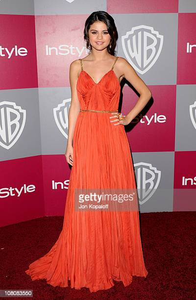 Actress Selena Gomez arrives at the 2011 InStyle/Warner Brothers Golden Globes Party at The Beverly Hilton hotel on January 16 2011 in Beverly Hills...