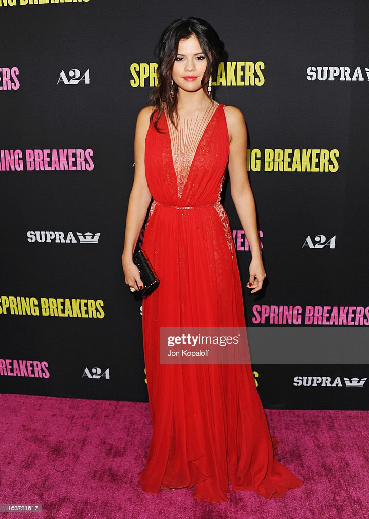 Actress <a gi-track='captionPersonalityLinkClicked' href=/galleries/search?phrase=Selena+Gomez&family=editorial&specificpeople=4295969 ng-click='$event.stopPropagation()'>Selena Gomez</a> arrives at the Los Angeles Premiere 'Spring Breakers' at ArcLight Hollywood on March 14, 2013 in Hollywood, California.
