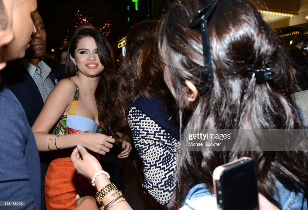Actress <a gi-track='captionPersonalityLinkClicked' href=/galleries/search?phrase=Selena+Gomez&family=editorial&specificpeople=4295969 ng-click='$event.stopPropagation()'>Selena Gomez</a> arrives at the premiere of 'Spring Breakers' during the 2013 SXSW Music, Film + Interactive Festival at Paramount Theatre on March 10, 2013 in Austin, Texas.