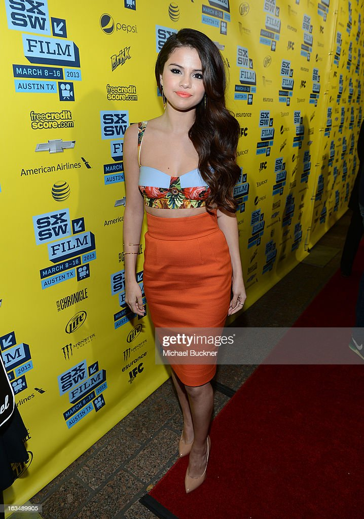 Actress Selena Gomez arrives at the premiere of 'Spring Breakers' during the 2013 SXSW Music, Film + Interactive Festival at Paramount Theatre on March 10, 2013 in Austin, Texas.