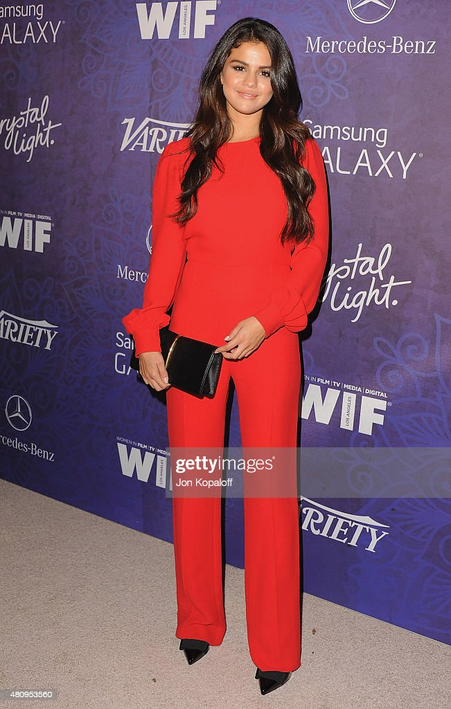 Actress <a gi-track='captionPersonalityLinkClicked' href=/galleries/search?phrase=Selena+Gomez&family=editorial&specificpeople=4295969 ng-click='$event.stopPropagation()'>Selena Gomez</a> arrives at Variety And Women In Film Annual Pre-Emmy Celebration at Gracias Madre on August 23, 2014 in West Hollywood, California.