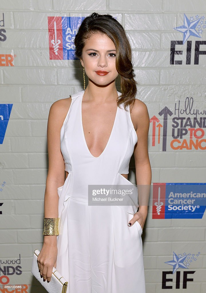 Actress Selena Gomez attends Hollywood Stands Up To Cancer Event with contributors American Cancer Society and Bristol Myers Squibb hosted by Jim Toth and Reese Witherspoon and the Entertainment Industry Foundation on Tuesday, January 28, 2014 in Culver City, California.
