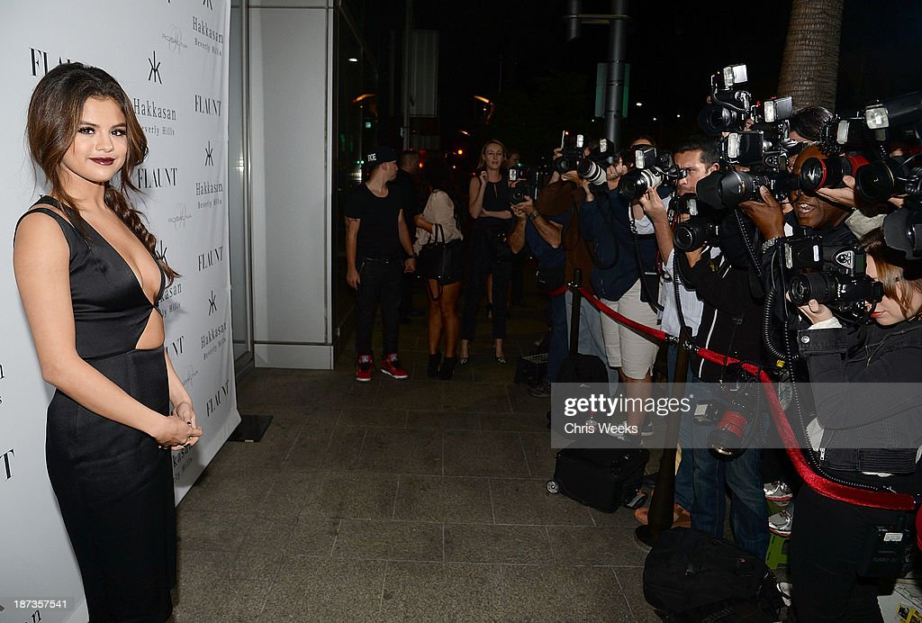 Actress <a gi-track='captionPersonalityLinkClicked' href=/galleries/search?phrase=Selena+Gomez&family=editorial&specificpeople=4295969 ng-click='$event.stopPropagation()'>Selena Gomez</a> attends the Flaunt Magazine November issue party at Hakkasan on November 7, 2013 in Beverly Hills, California.