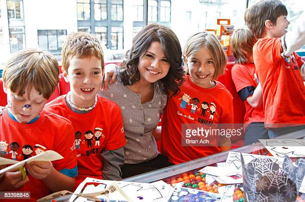 Actress Selena Gomez attends the launch of Unicef's 2008 TrickorTreat campaign at Dylan's Candy Bar on October 23 2008 in New York City