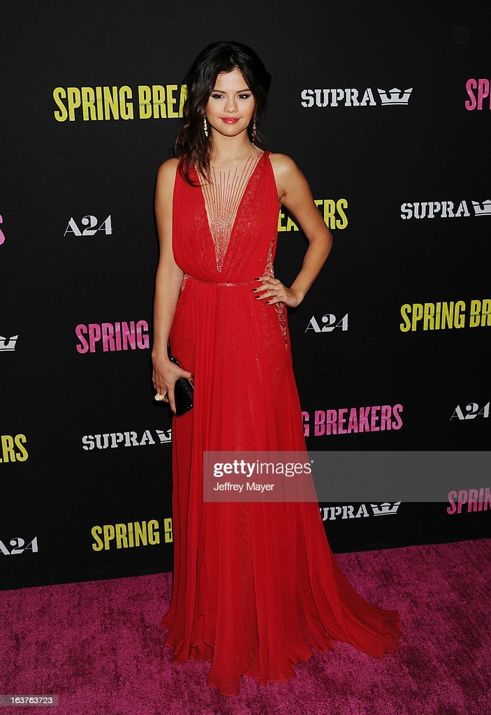 Actress <a gi-track='captionPersonalityLinkClicked' href=/galleries/search?phrase=Selena+Gomez&family=editorial&specificpeople=4295969 ng-click='$event.stopPropagation()'>Selena Gomez</a> attends the 'Spring Breakers' Los Angeles Premiere at ArcLight Hollywood on March 14, 2013 in Hollywood, California.