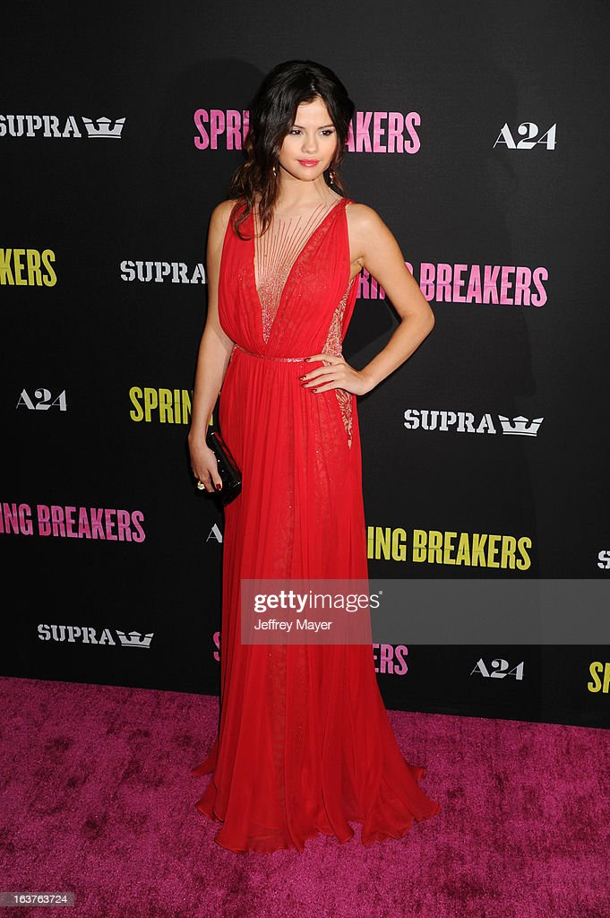 Actress Selena Gomez attends the 'Spring Breakers' Los Angeles Premiere at ArcLight Hollywood on March 14, 2013 in Hollywood, California.