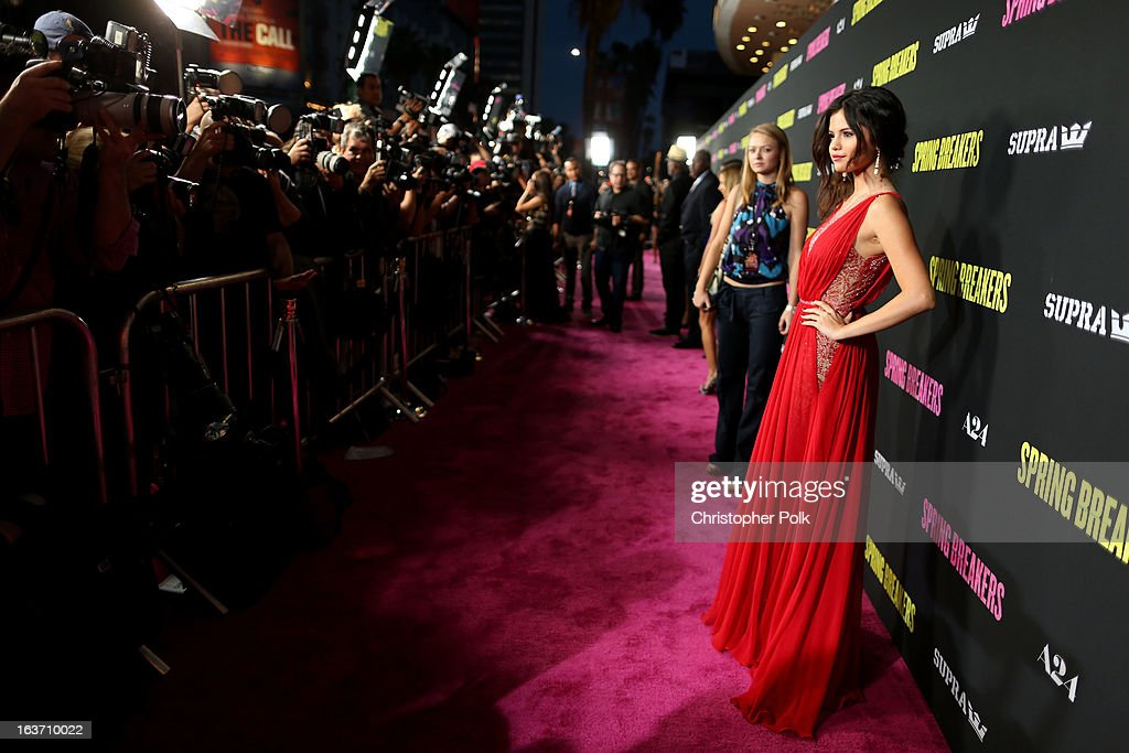 Actress <a gi-track='captionPersonalityLinkClicked' href=/galleries/search?phrase=Selena+Gomez&family=editorial&specificpeople=4295969 ng-click='$event.stopPropagation()'>Selena Gomez</a> attends the 'Spring Breakers' premiere at ArcLight Cinemas on March 14, 2013 in Hollywood, California.