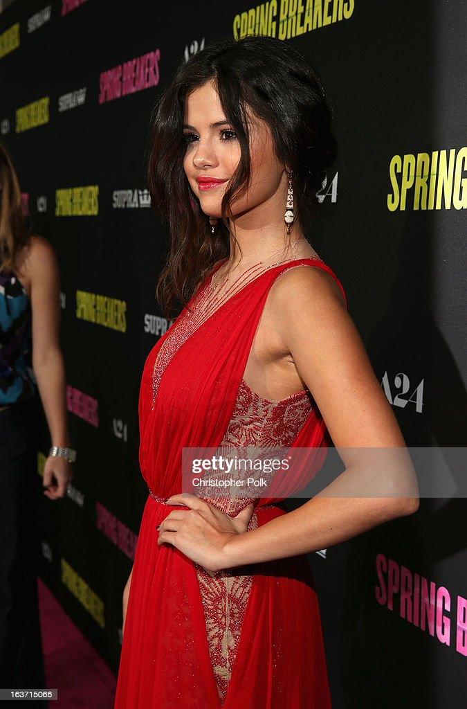 Actress Selena Gomez attends the 'Spring Breakers' premiere at ArcLight Cinemas on March 14, 2013 in Hollywood, California.