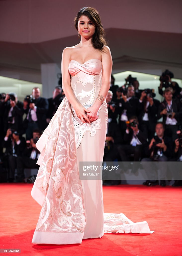 Actress <a gi-track='captionPersonalityLinkClicked' href=/galleries/search?phrase=Selena+Gomez&family=editorial&specificpeople=4295969 ng-click='$event.stopPropagation()'>Selena Gomez</a> attends the 'Spring Breakers' Premiere during The 69th Venice Film Festival at the Palazzo del Cinema on September 5, 2012 in Venice, Italy.