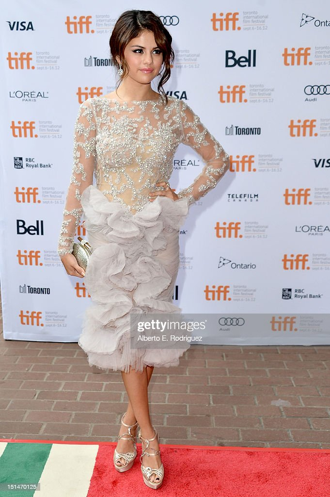 Actress <a gi-track='captionPersonalityLinkClicked' href=/galleries/search?phrase=Selena+Gomez&family=editorial&specificpeople=4295969 ng-click='$event.stopPropagation()'>Selena Gomez</a> attends the'Spring Breakers' premiere during the 2012 Toronto International Film Festival at Ryerson Theatre on September 7, 2012 in Toronto, Canada.