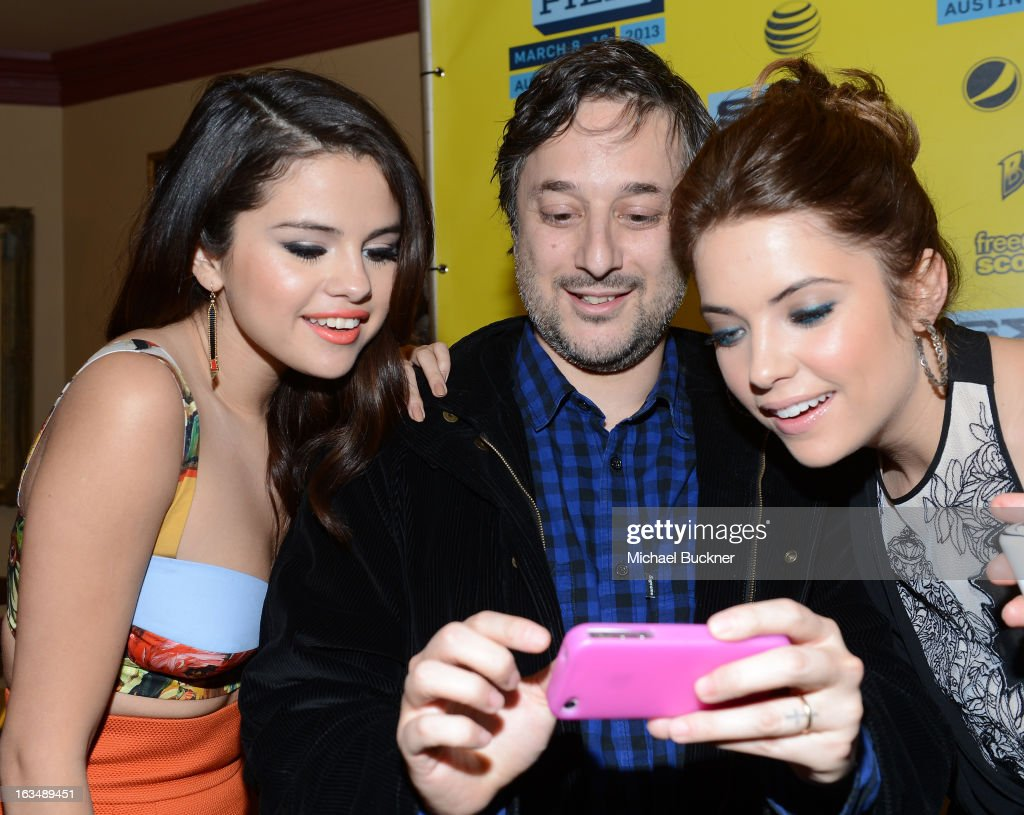 Actress Selena Gomez, director Harmony Korine and actress Ashley Benson attend the green room for 'Spring Breakers' during the 2013 SXSW Music, Film + Interactive Festival' at the Paramount Theatre on March 10, 2013 in Austin, Texas.