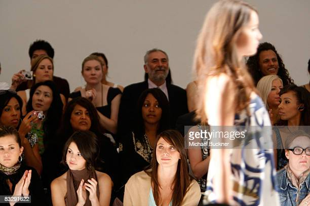 Actress Selena Gomez poses in the front row at the EcoGanik Spring 2009 fashion show during MercedesBenz Fashion Week held at Smashbox Studios on...