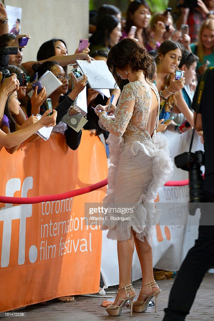 Actress Selena Gomez signs autographs at the'Spring Breakers' premiere during the 2012 Toronto International Film Festival at Ryerson Theatre on September 7, 2012 in Toronto, Canada.