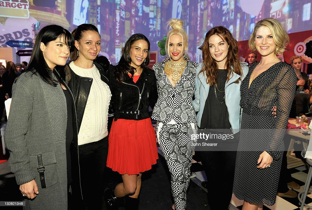 Actress Selma Blair, actress Maya Rudolph, actress Paula Patton, singer Gwen Stefani, actress Michelle Monaghan, and actress Ali Larter attend Gwen Stefani's launch of her Harajuku Mini for Target Collection at Jim Henson Studios on November 12, 2011 in Los Angeles, California.