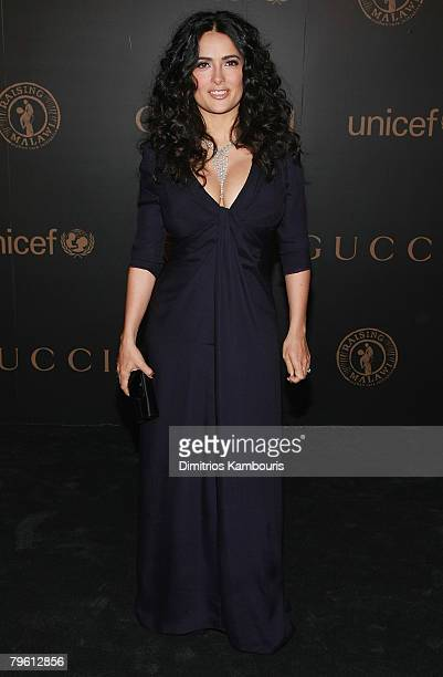 Actress Selma Hayek arrives at the Madonna Gucci Present A Night to Benefit Raising Malawi at the United Nations on February 6 2007 in New York City