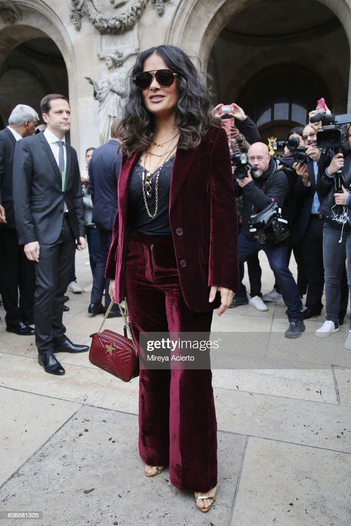 Actress Selma Hayek attends the Stella McCartney show as part of the Paris Fashion Week Womenswear Spring/Summer 2018 on October 2, 2017 in Paris, France.