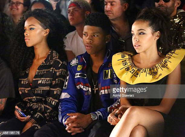 Actress Serayah McNeill Actor Yazz and Singer Tinashe at Jeremy Scott with Kagome Greens at Skylight at Moynihan Station on September 14 2015 in New...