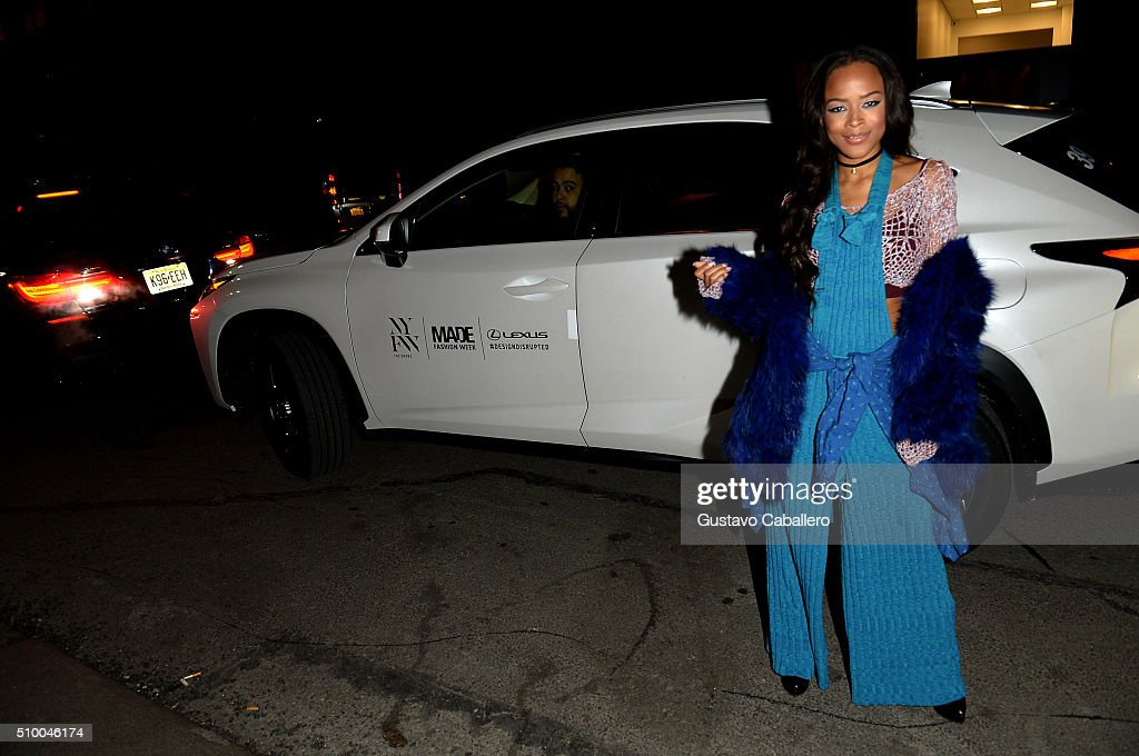Actress <a gi-track='captionPersonalityLinkClicked' href=/galleries/search?phrase=Serayah+McNeill&family=editorial&specificpeople=13836114 ng-click='$event.stopPropagation()'>Serayah McNeill</a> arrives in a Lexus to the Baja East Fall 2016 Fashion show during Day 3 of New York Fashion Week: The Shows at Skylight at Moynihan Station on February 13, 2016 in New York City.