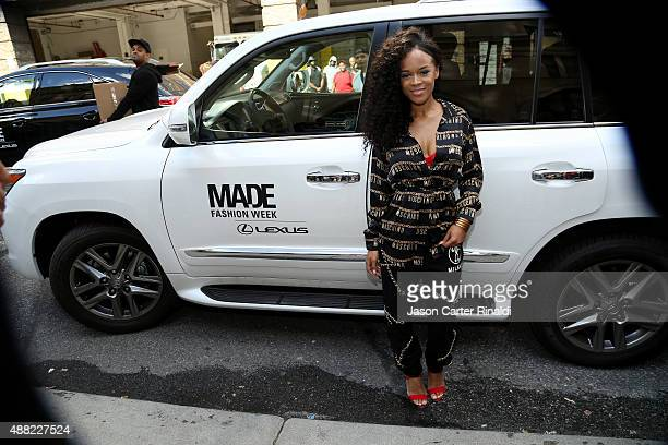 Actress Serayah McNeill attends Lexus arrivals at Skylight at Moynihan Station during New York Fashion Week The Shows on September 14 2015 in New...