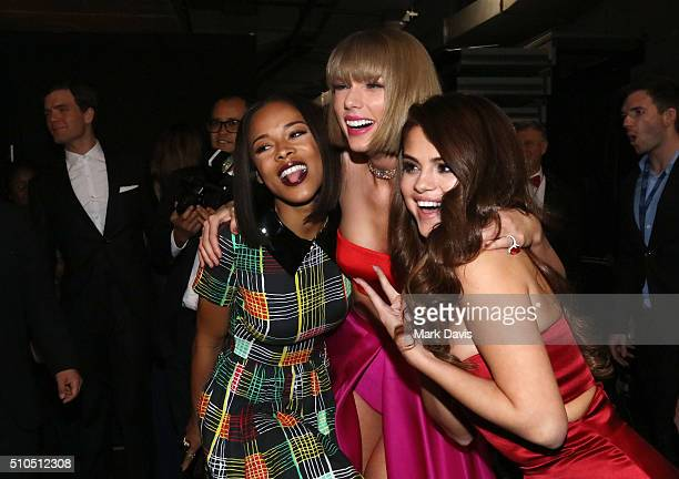 Actress Serayah McNeill singer Taylor Swift and actress/singer Selena Gomez attend The 58th GRAMMY Awards at Staples Center on February 15 2016 in...