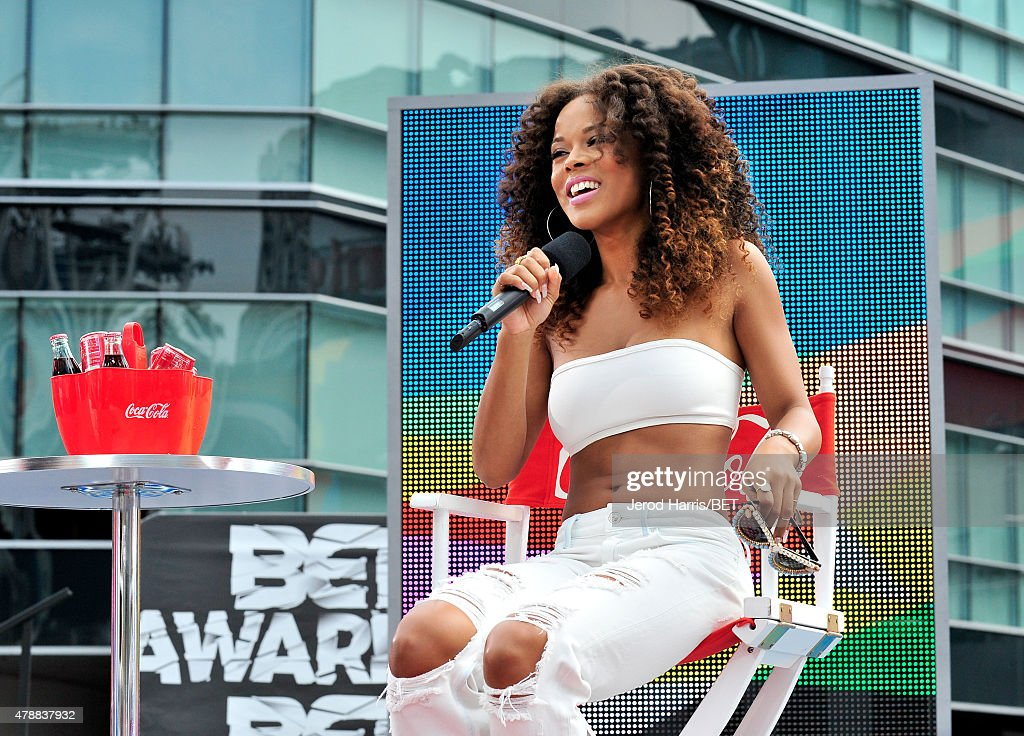 Actress Serayah speaks onstage during 106 Park presented by Coke during the 2015 BET Experience at Nokia Plaza on June 27 2015 in Los Angeles...
