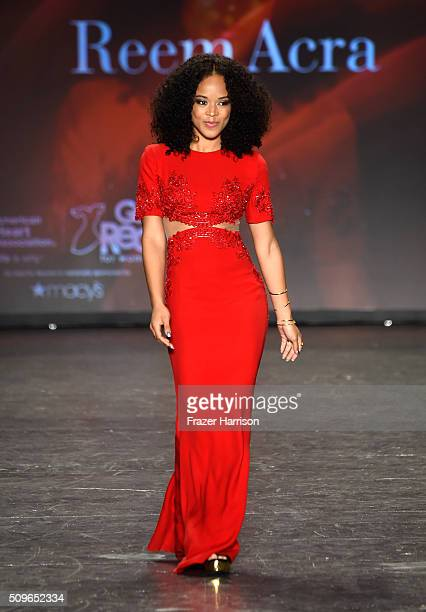 Actress Serayah walks the runway at The American Heart Association's Go Red For Women Red Dress Collection 2016 Presented By Macy's at The Arc...