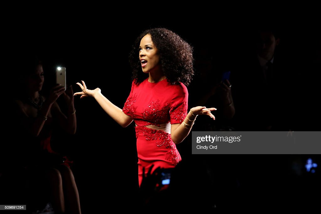 Actress Serayah walks the runways at The American Heart Association's Go Red For Women Red Dress Collection 2016 Presented By Macy's at The Arc, Skylight at Moynihan Station on February 11, 2016 in New York City.