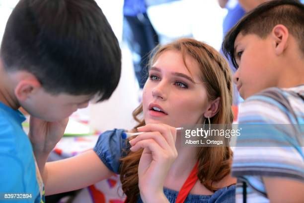 Actress Serena Laurel participates in the Los Angeles Mission's End Of Summer Arts And Education Fair held at Los Angeles Mission on August 26 2017...