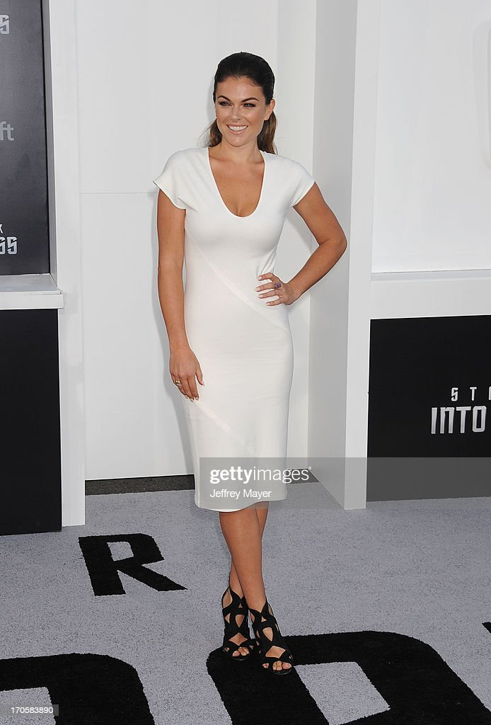 Actress <a gi-track='captionPersonalityLinkClicked' href=/galleries/search?phrase=Serinda+Swan&family=editorial&specificpeople=4388541 ng-click='$event.stopPropagation()'>Serinda Swan</a> arrives at the Los Angeles premiere of 'Star Trek: Into Darkness' at Dolby Theatre on May 14, 2013 in Hollywood, California.
