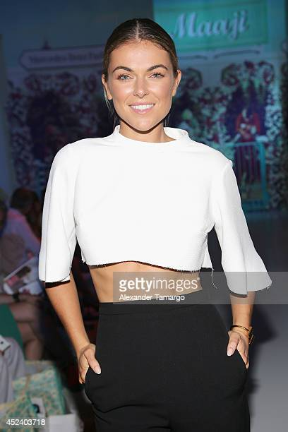 Actress Serinda Swan attends the Maaji show during MercedesBenz Fashion Week Swim 2015 at The Raleigh on July 19 2014 in Miami Beach Florida
