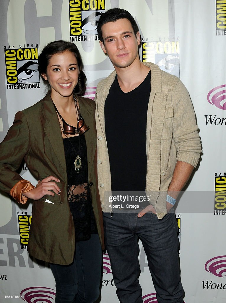 Actress Seychelle Gabriel and actor Drew Roy promotes TNT's 'Falling Skies' at WonderCon Anaheim 2013 - Day 2 at Anaheim Convention Center on March 30, 2013 in Anaheim, California.