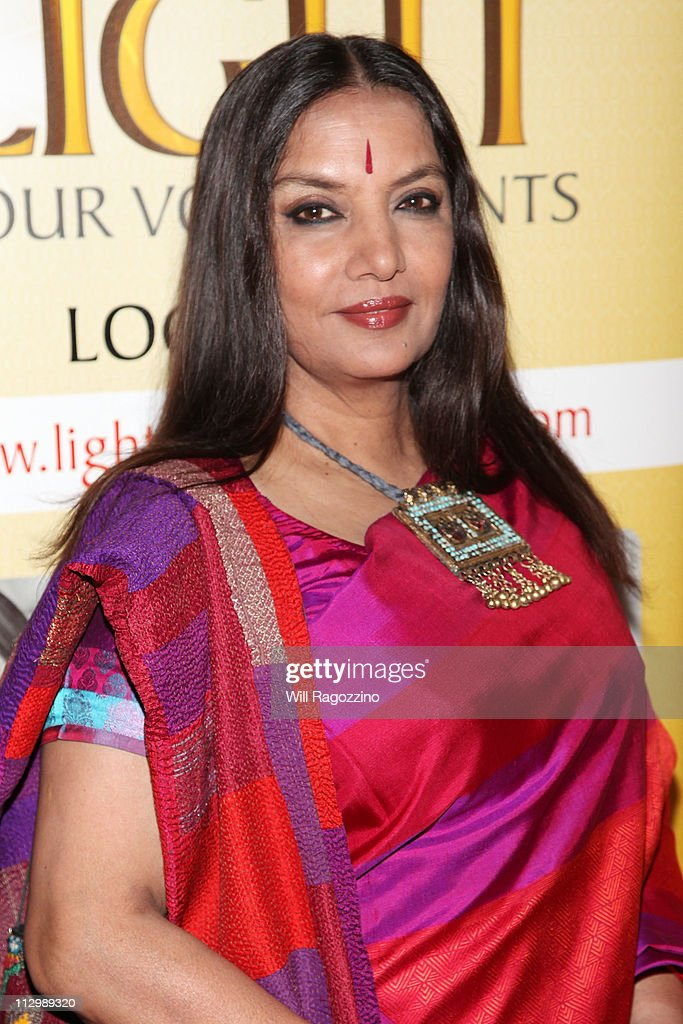 Actress <a gi-track='captionPersonalityLinkClicked' href=/galleries/search?phrase=Shabana+Azmi&family=editorial&specificpeople=565786 ng-click='$event.stopPropagation()'>Shabana Azmi</a> attends the 2011 Light of India awards at The Waldorf=Astoria on April 22, 2011 in New York City.