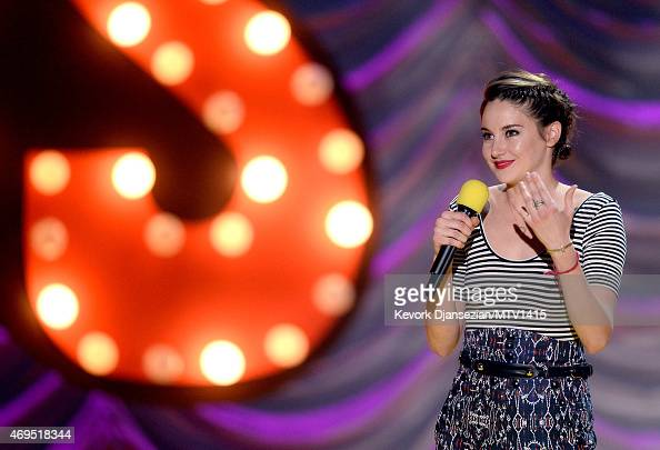 Actress Shailene Woodley accepts the MTV Trailblazer Award onstage during The 2015 MTV Movie Awards at Nokia Theatre LA Live on April 12 2015 in Los...