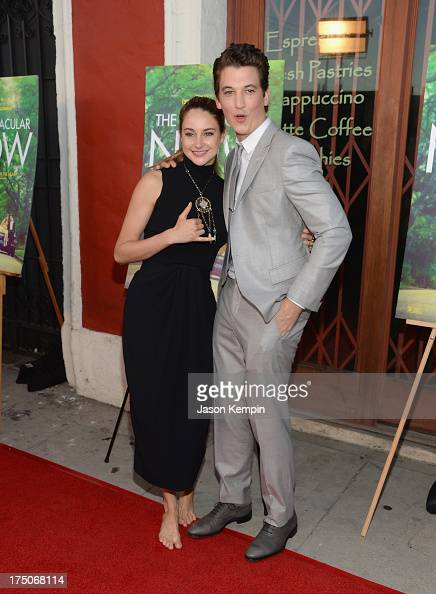 Actress Shailene Woodley and actor Miles Teller attend the screening of A24's 'The Spectacular Now' at the Vista Theatre on July 30 2013 in Los...