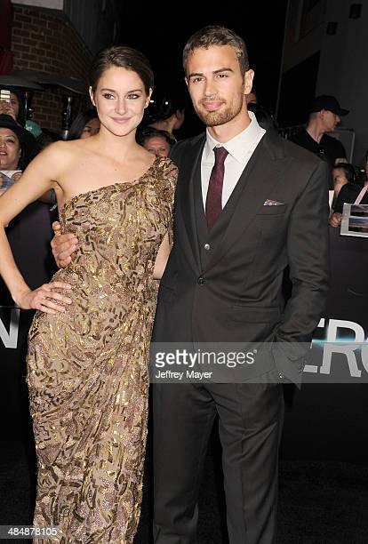 Actress Shailene Woodley and actor Theo James arrive at the Los Angeles premiere of 'Divergent' at Regency Bruin Theatre on March 18 2014 in Los...