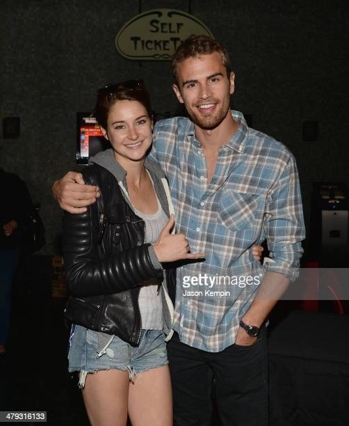 Actress Shailene Woodley and actor Theo James attend Summit Entertainment And AllittakesOrg's Private Screening Of 'Divergent' at Muvico Theaters...