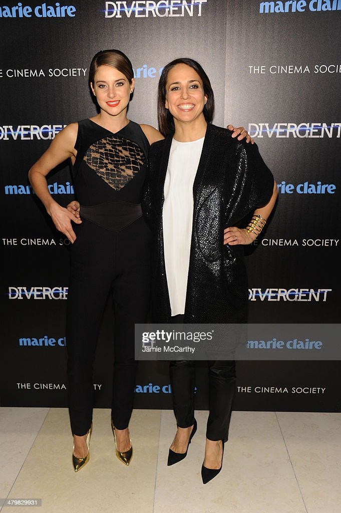 Actress <a gi-track='captionPersonalityLinkClicked' href=/galleries/search?phrase=Shailene+Woodley&family=editorial&specificpeople=676833 ng-click='$event.stopPropagation()'>Shailene Woodley</a> (L) and Marie Claire Editor-in-Chief Anne Fulenwide attends the Marie Claire & The Cinema Society screening of Summit Entertainment's 'Divergent' at Hearst Tower on March 20, 2014 in New York City.