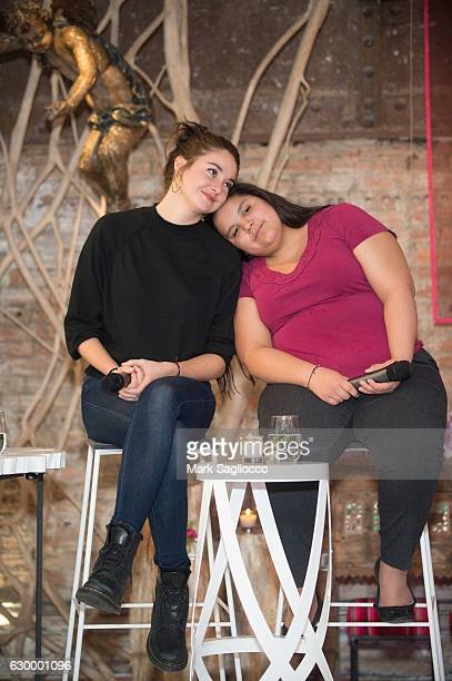 Actress Shailene Woodley and Tokato Iron Eyes attend the Stand With Standing Rock Benefit at ABC Home Carpet on December 15 2016 in New York City