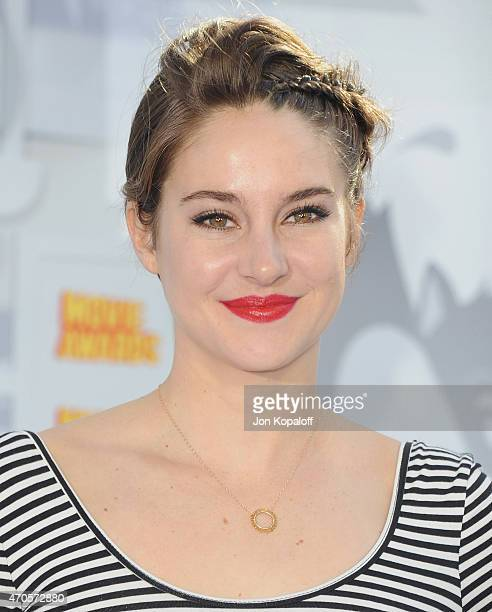 Actress Shailene Woodley arrives at the 2015 MTV Movie Awards at Nokia Theatre LA Live on April 12 2015 in Los Angeles California
