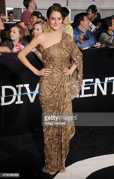 Actress Shailene Woodley arrives at the Los Angeles premiere of 'Divergent' at Regency Bruin Theatre on March 18 2014 in Los Angeles California