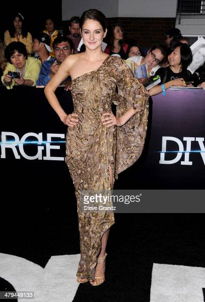 Actress Shailene Woodley arrives at the premiere of Summit Entertainment's 'Divergent' at the Regency Bruin Theatre on March 18 2014 in Los Angeles...