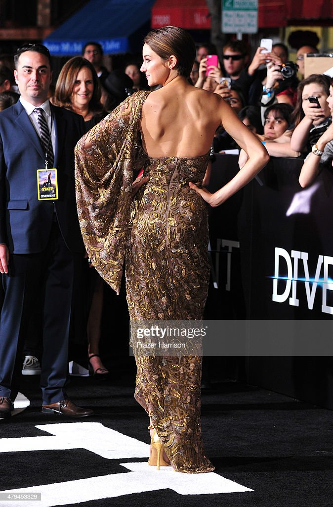 Actress Shailene Woodley arrives at the premiere of Summit Entertainment's 'Divergent' at the Regency Bruin Theatre on March 18, 2014 in Los Angeles, California.