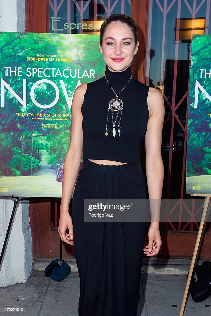 Actress <a gi-track='captionPersonalityLinkClicked' href=/galleries/search?phrase=Shailene+Woodley&family=editorial&specificpeople=676833 ng-click='$event.stopPropagation()'>Shailene Woodley</a> arrives at 'The Spectacular Now' - Los Angeles Special Screening at the Vista Theatre on July 30, 2013 in Los Angeles, California.